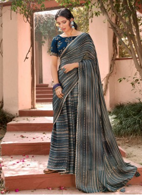 Elite Foil Print Multi Colour Faux Chiffon Printed Saree