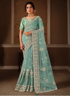 Elite Net Sequins Aqua Blue Designer Traditional S