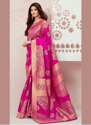 Elite Pink Silk Designer Saree