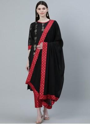 Elite Print Black Poly Silk Salwar Suit