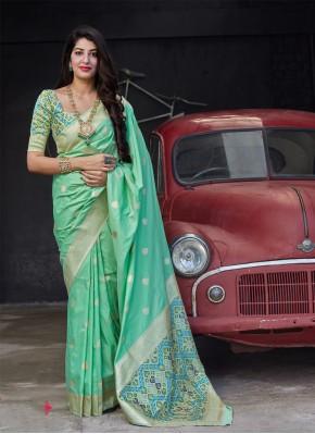 Elite Woven Banarasi Silk Green Classic Saree