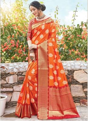 Elite Zari Art Silk Orange Designer Bridal Sarees