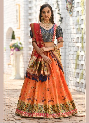 Elite Zari Banarasi Silk Orange Trendy Designer Lehenga Choli