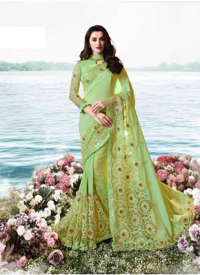 Embroidered Art Silk Classic Designer Saree in Green