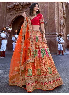 Embroidered Banarasi Silk Designer Lehenga Choli in Orange