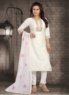 Embroidered Chanderi Readymade Suit in Off White