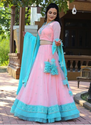 Embroidered Chiffon Bollywood Style Lehenga Choli in Peach and Sky Blue