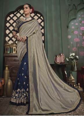 Embroidered Fancy Fabric Designer Half N Half Saree in Blue and Grey