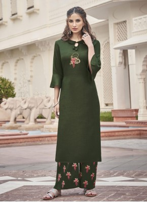 Embroidered Fancy Fabric Party Wear Kurti in Sea Green