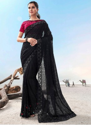 Embroidered Fancy Fabric Trendy Saree in Black