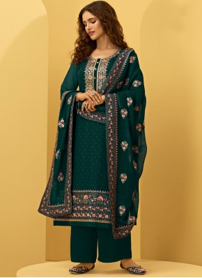 Embroidered Faux Georgette Designer Palazzo Suit in Green