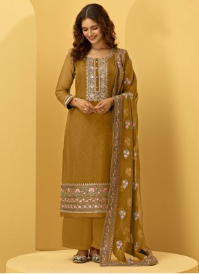 Embroidered Faux Georgette Designer Palazzo Suit in Mustard