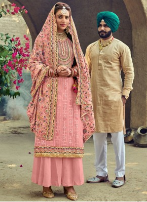 Embroidered Faux Georgette Palazzo Suit in Pink