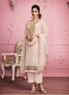 Embroidered Faux Georgette Pant Style Suit in Pink