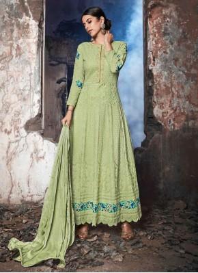 Embroidered Georgette Anarkali Salwar Suit in Sea Green
