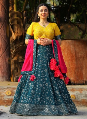 Embroidered Georgette Readymade Lehenga Choli in Grey, Pink and Yellow