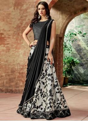 Embroidered Jacquard Silk Lehenga Choli in Black