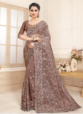 Embroidered Net Designer Saree in Brown
