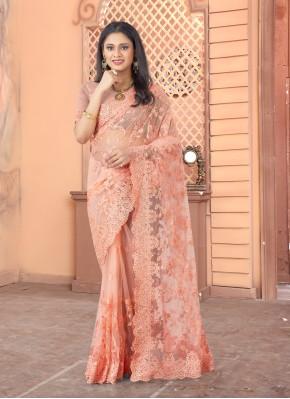 Embroidered Net Designer Saree in Peach