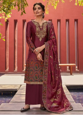 Embroidered Satin Designer Palazzo Suit in Wine