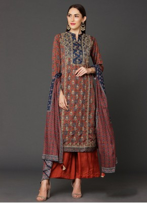 Embroidered Satin Salwar Suit in Red