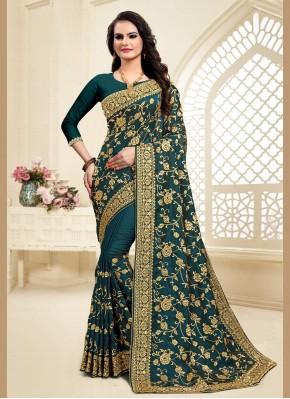 Embroidered Satin Silk Designer Saree in Green