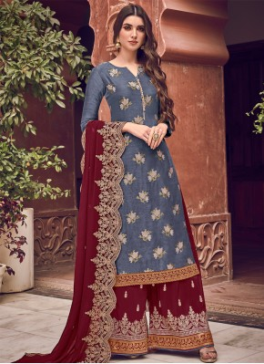 Embroidered Silk Bollywood Salwar Kameez in Blue