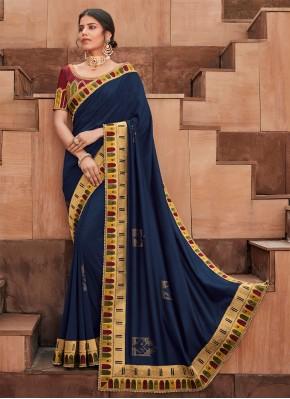 Embroidered Silk Contemporary Saree in Blue