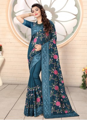 Embroidered Silk Contemporary Saree in Teal