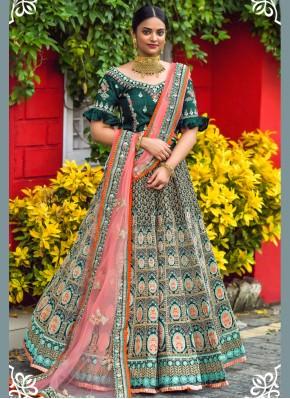 Embroidered Silk Lehenga Choli in Green
