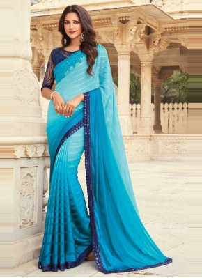 Embroidered Silk Traditional Designer Saree in Blue