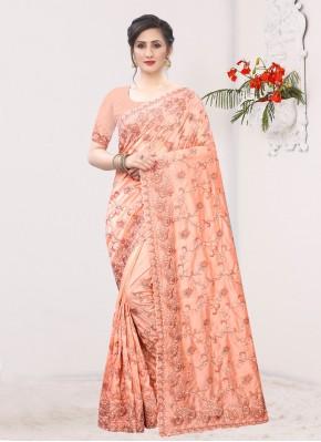 Embroidered Silk Trendy Saree in Peach