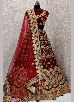 Embroidered Velvet Lehenga Choli in Maroon