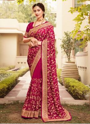 Embroidered Vichitra Silk Designer Saree in Magenta