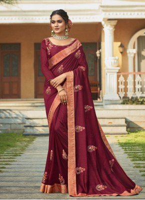 Embroidered Vichitra Silk Traditional Saree in Maroon