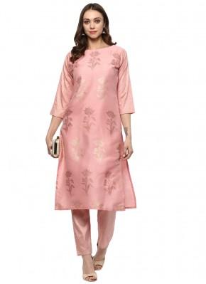 Enchanting Pink Abstract Print Poly Silk Designer Kurti