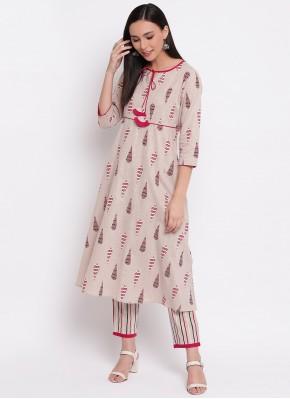 Enchanting Printed Cotton Party Wear Kurti