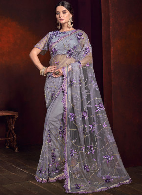 Enchanting Purple Embroidered Net Saree