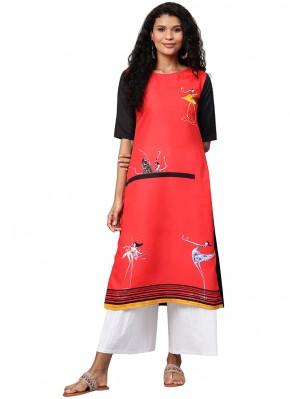 Enchanting Red Print Satin Party Wear Kurti
