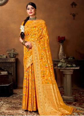 Enchanting Weaving Banarasi Silk Yellow Designer Traditional Saree