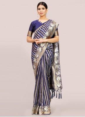 Energetic Art Silk Navy Blue Traditional Designer Saree