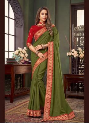 Energetic Fancy Fabric Green Patch Border Classic Designer Saree