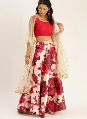 Energetic Floral Print Satin Silk Bollywood Lehenga Choli