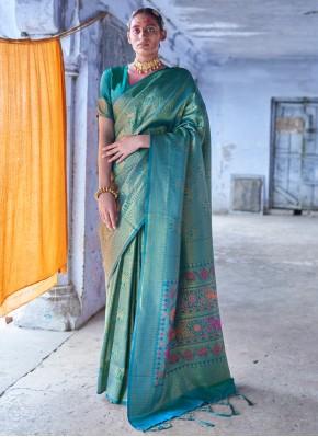 Energetic Green Weaving Silk Trendy Saree