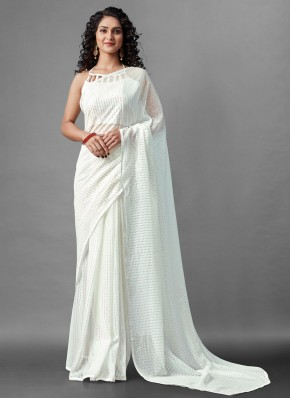 Energetic Off White Sequins Faux Georgette Designer Saree