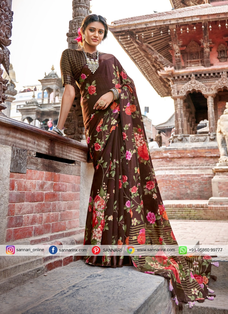 Energetic Printed Saree For Casual