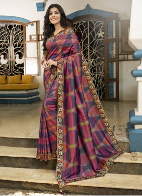 Energetic Silk Digital Print Multi Colour Designer Saree