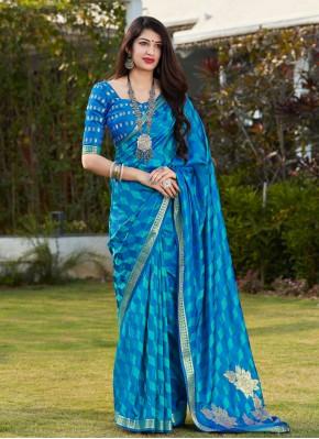 Engrossing Banarasi Silk Print Blue Designer Traditional Saree
