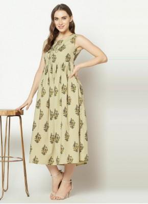 Engrossing Cotton Sea Green Print Party Wear Kurti