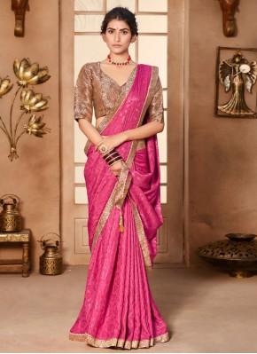 Engrossing Hot Pink Festival Classic Designer Saree